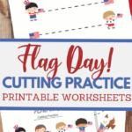 USA Flag themed scissor skills sheets for fine motor practice