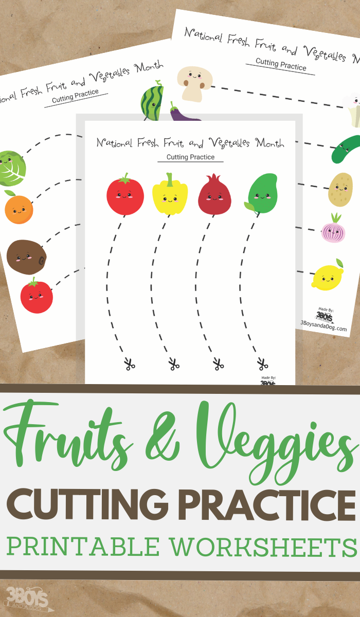 simple cutting worksheets for National Fresh Fruits and Vegetables Month