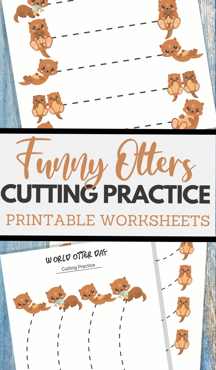World Otter Day themed cutting practice for preschool