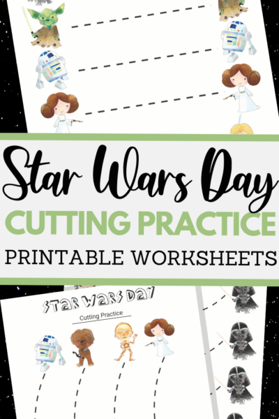 Star Wars Day themed scissor skills sheets for fine motor practice