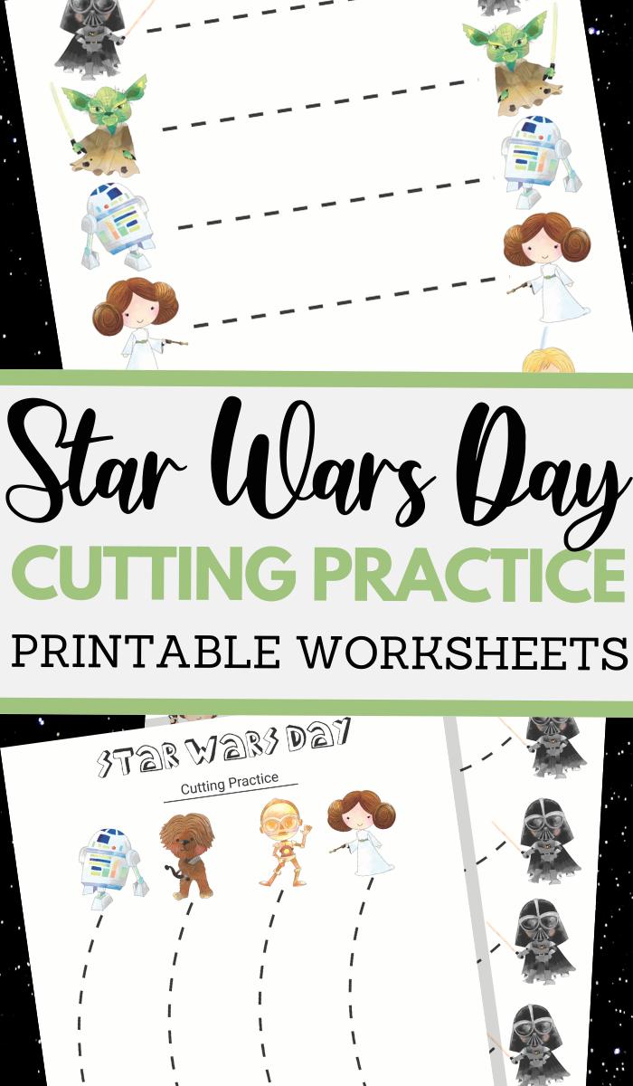 Star Wars Day themed scissor skills sheets for fine motor practice