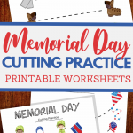 Memorial Day themed cutting practice for preschool