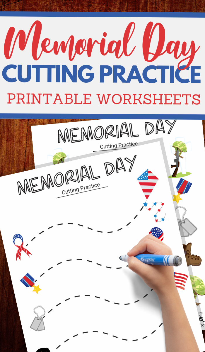 simple cutting worksheets for Memorial Day