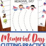 Memorial Day cutting practice worksheets for preschoolers