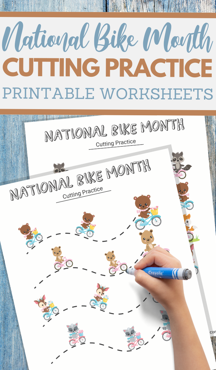 animals on bikes cutting practice worksheets for preschoolers