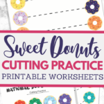 Doughnuts themed scissor skills sheets for fine motor practice