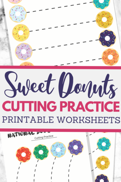 Doughnuts themed scissor skills sheets for fine motor practice