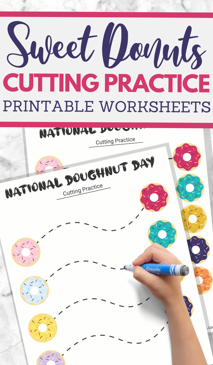 National Donut Day cutting practice worksheets for preschoolers