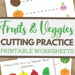 Fruits and Veggies themed scissor skills sheets for fine motor practice