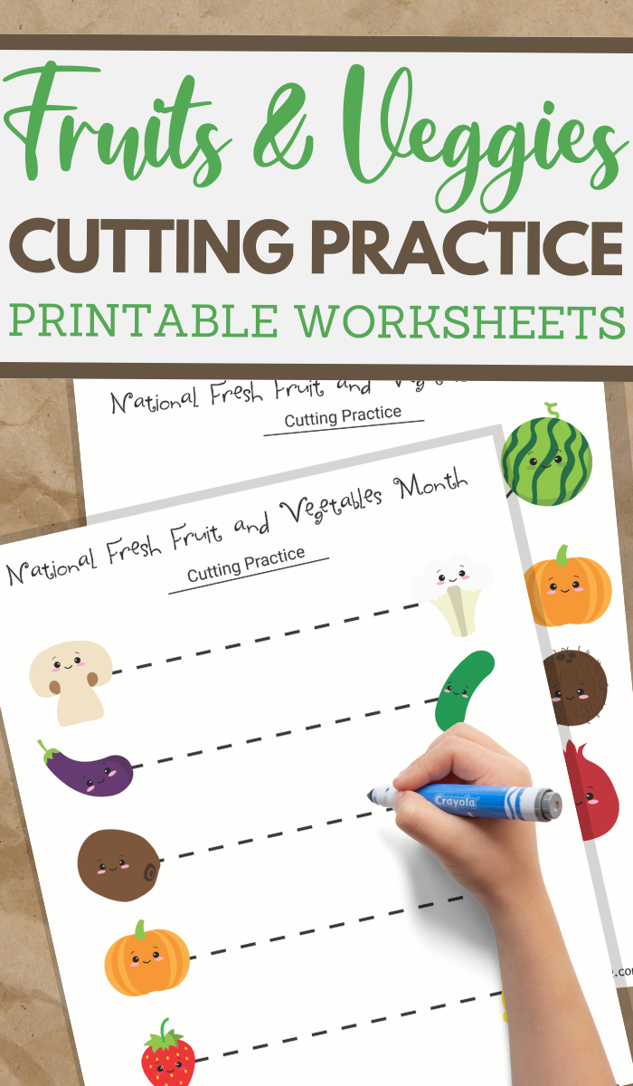 National Fresh Fruits and Vegetables Month cutting practice worksheets for preschoolers