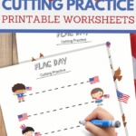 Flag Day cutting practice worksheets for preschoolers