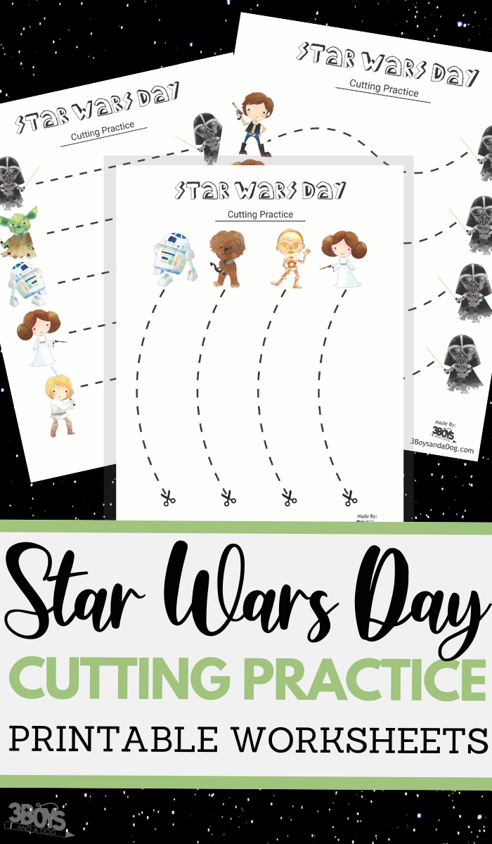 Star Wars Day themed cutting practice for preschool