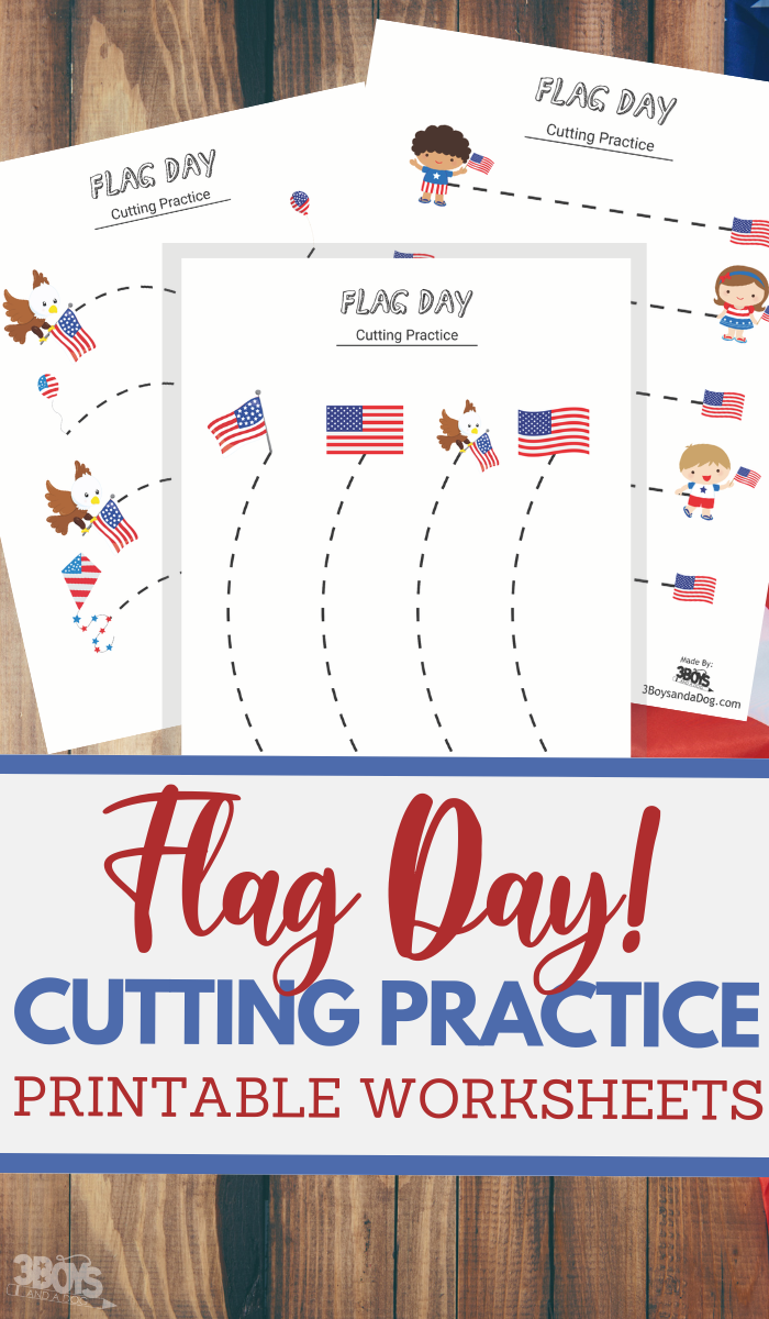 simple cutting worksheets for Flag Day