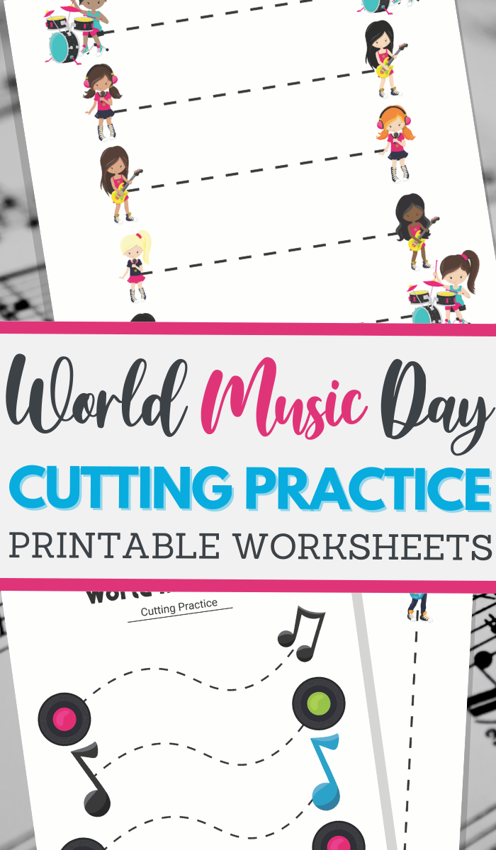 simple cutting worksheets for World Music Day