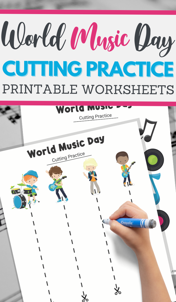 World Music Day cutting practice worksheets for preschoolers