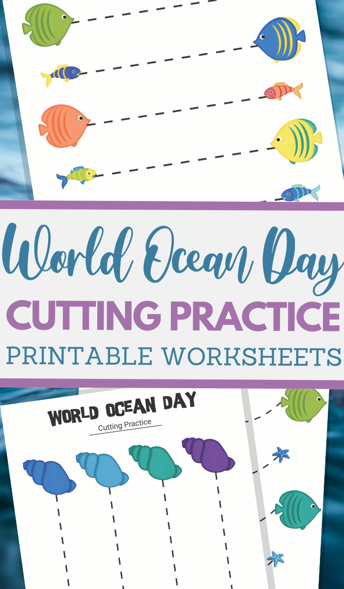simple cutting worksheets for World Ocean Day