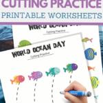 World Ocean Day cutting practice worksheets for preschoolers