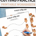 simple cutting worksheets for World Otter Day