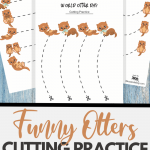 Funny Otters cutting practice worksheets for preschoolers