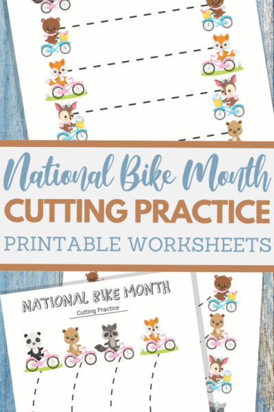 simple cutting worksheets for National Bike Month