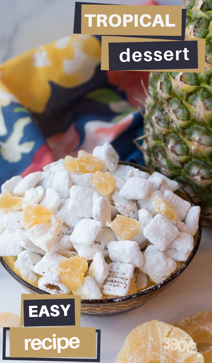 dried pineapple chunks adds a delicious tartness to this sweet puppy chow recipe