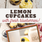 this sweet lemon icing tops an almost muffine like blueberry and lemon cupcake