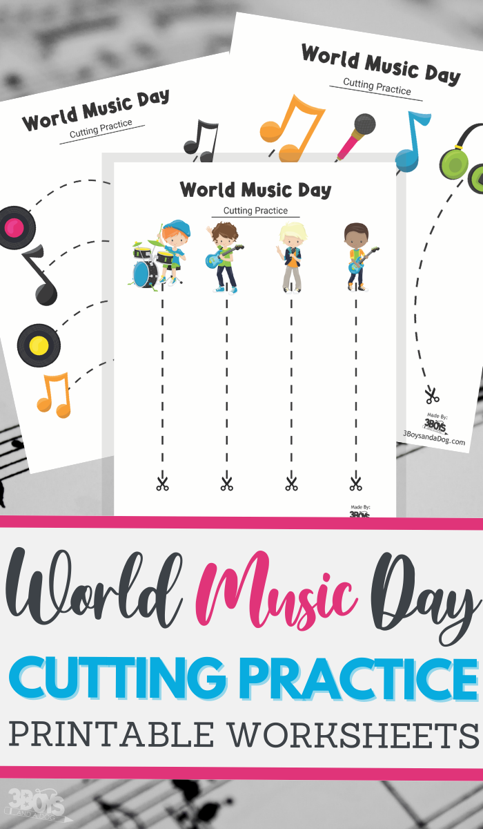 World Music Day themed cutting practice for preschool