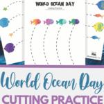 World Ocean Day themed cutting practice for preschool