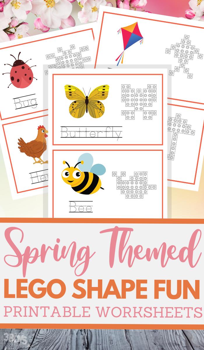 spring LEGO worksheets for preschoolers