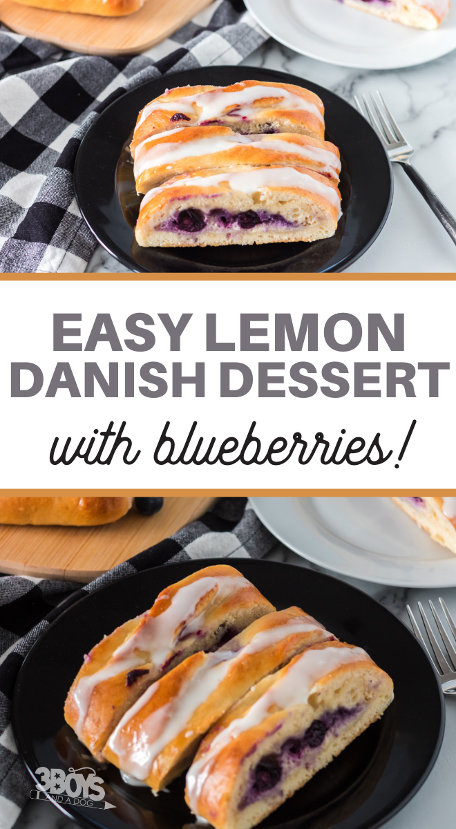 lemons and blueberries in a braided danish