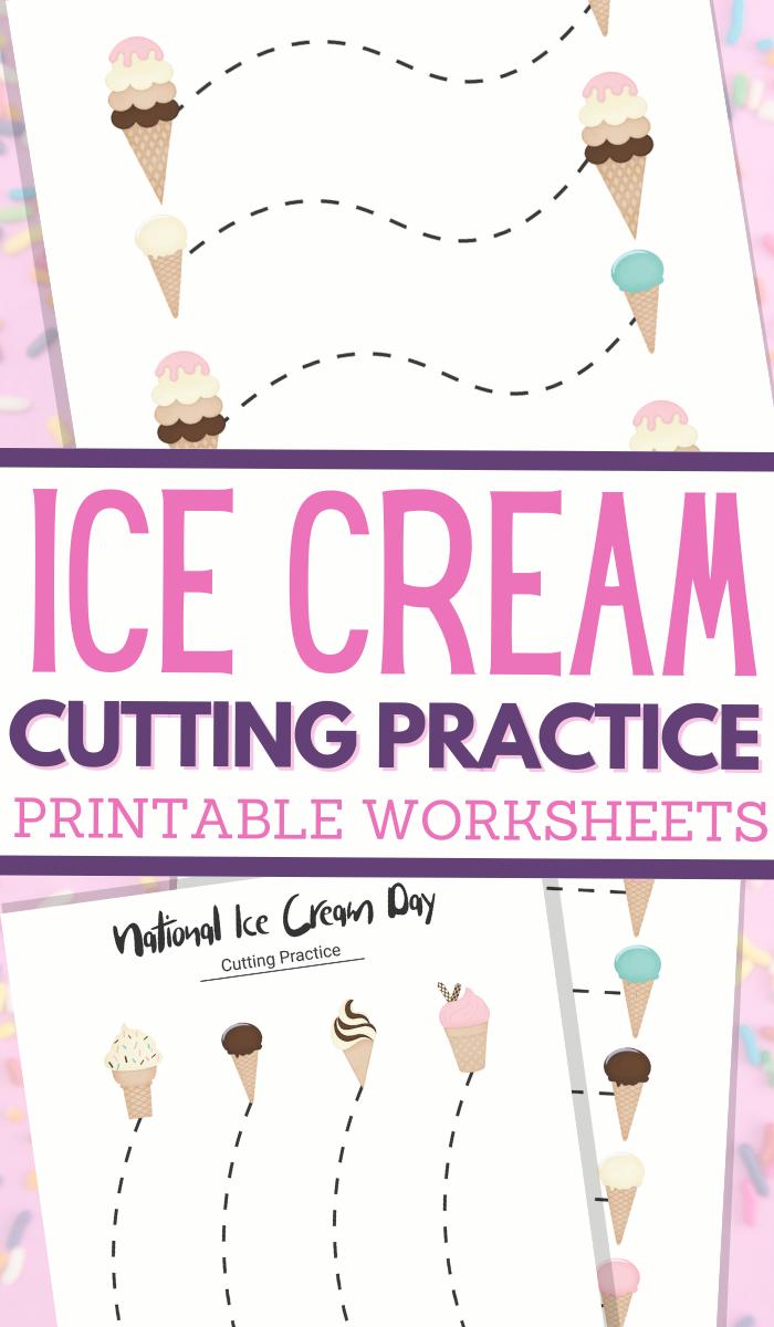 Ice Cream Cones themed scissor skills sheets for fine motor practice