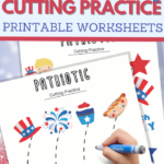 simple cutting worksheets for your Fourth of July Unit Study