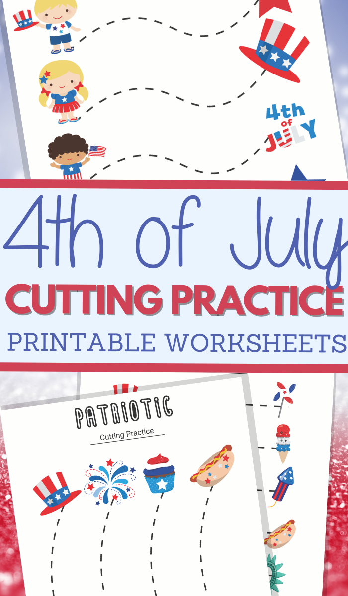 Independence Day themed cutting practice for preschool