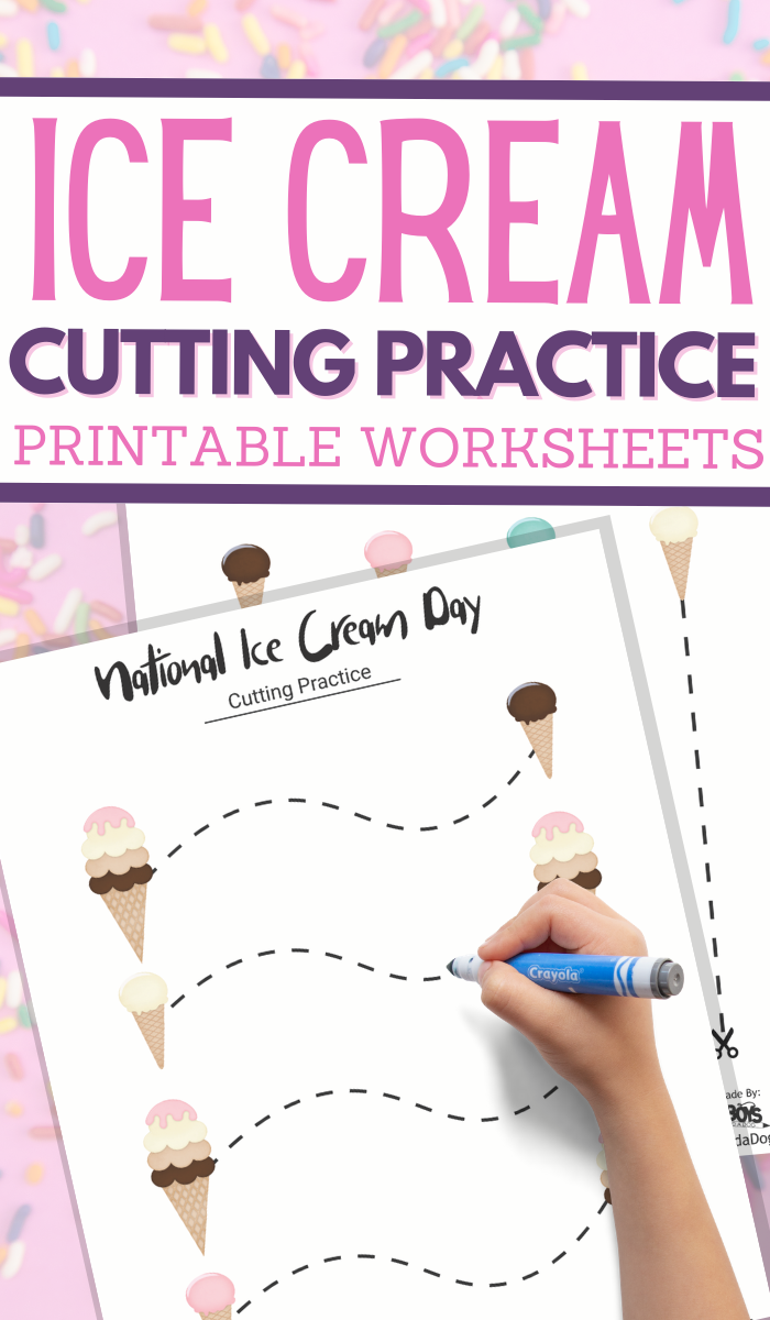 Ice Cream Unit Study cutting practice worksheets for preschoolers
