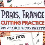 Paris France themed scissor skills sheets for fine motor practice