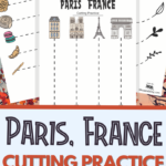 Paris France themed cutting practice for preschool
