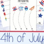 July 4th Unit Study cutting practice worksheets for preschoolers