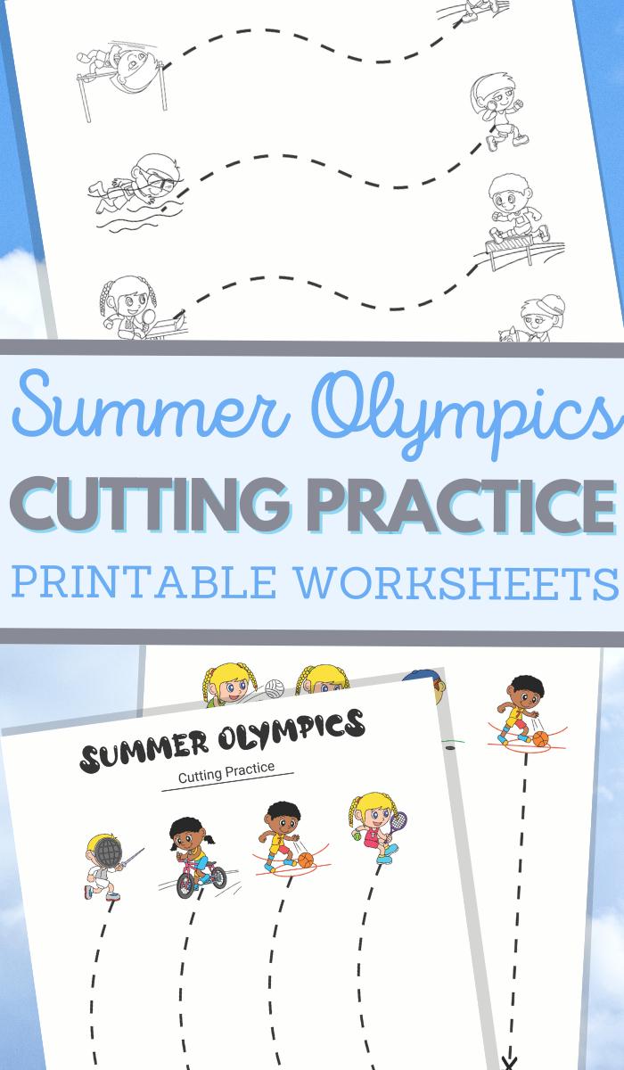 Summer Olympics themed scissor skills sheets for fine motor practice