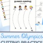 SUmmer Olympics themed cutting practice for preschool