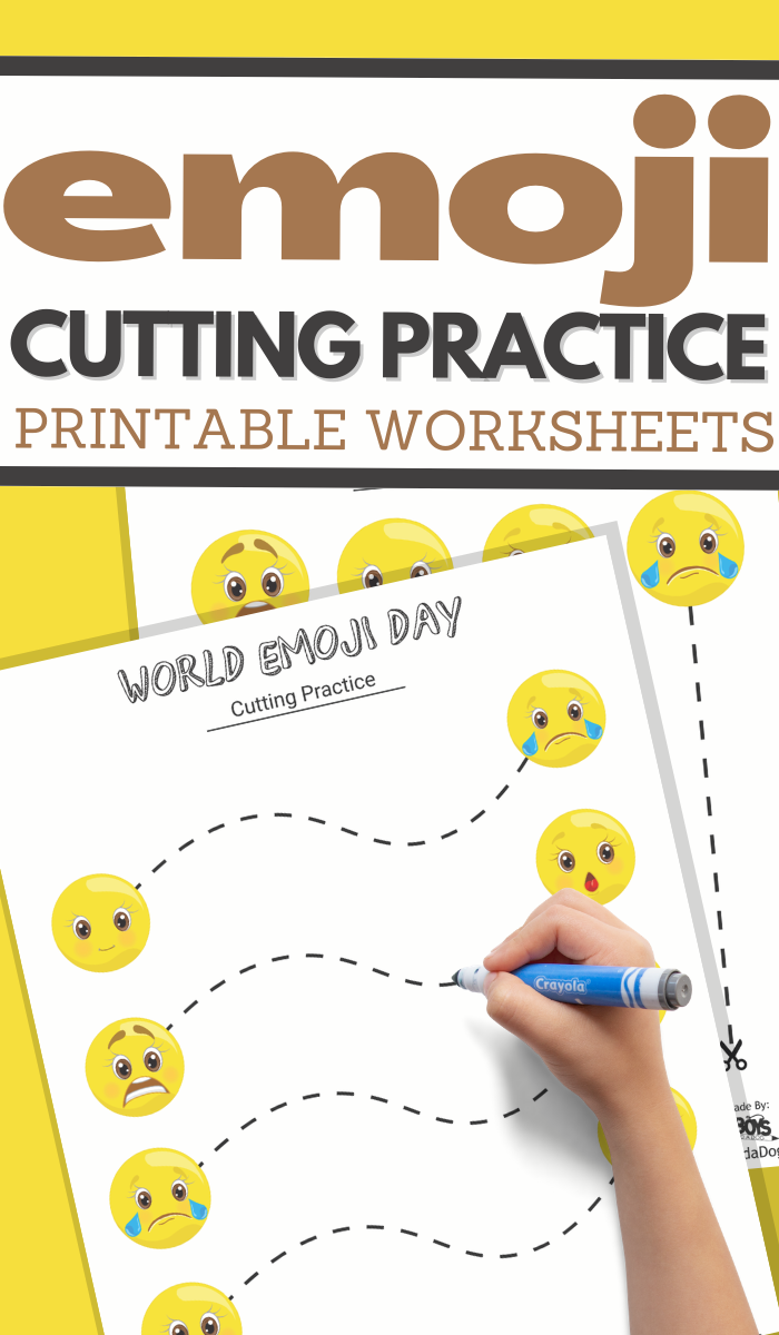 simple cutting worksheets for your World Emoji Day Unit Study