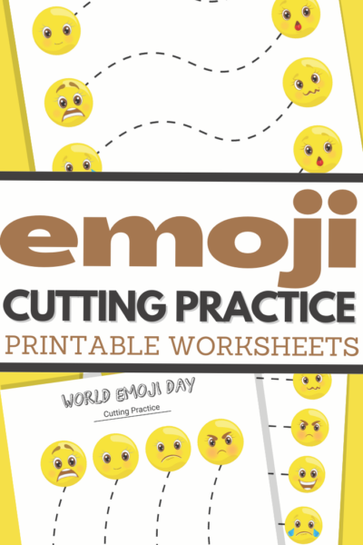 World Emoji Day themed cutting practice for preschool