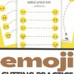 emoji Unit Study cutting practice worksheets for preschoolers