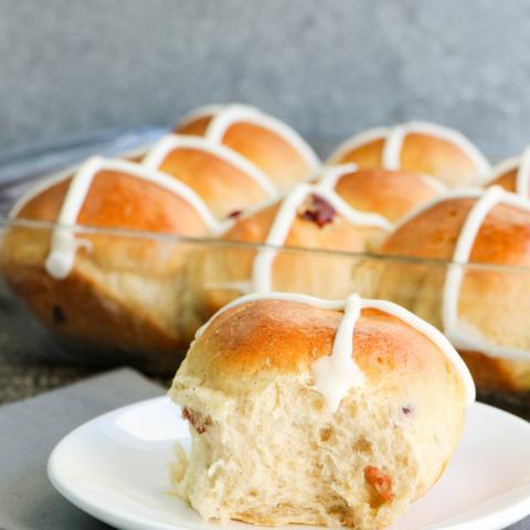 Bread Machine Cranberry Hot Cross Buns Recipe