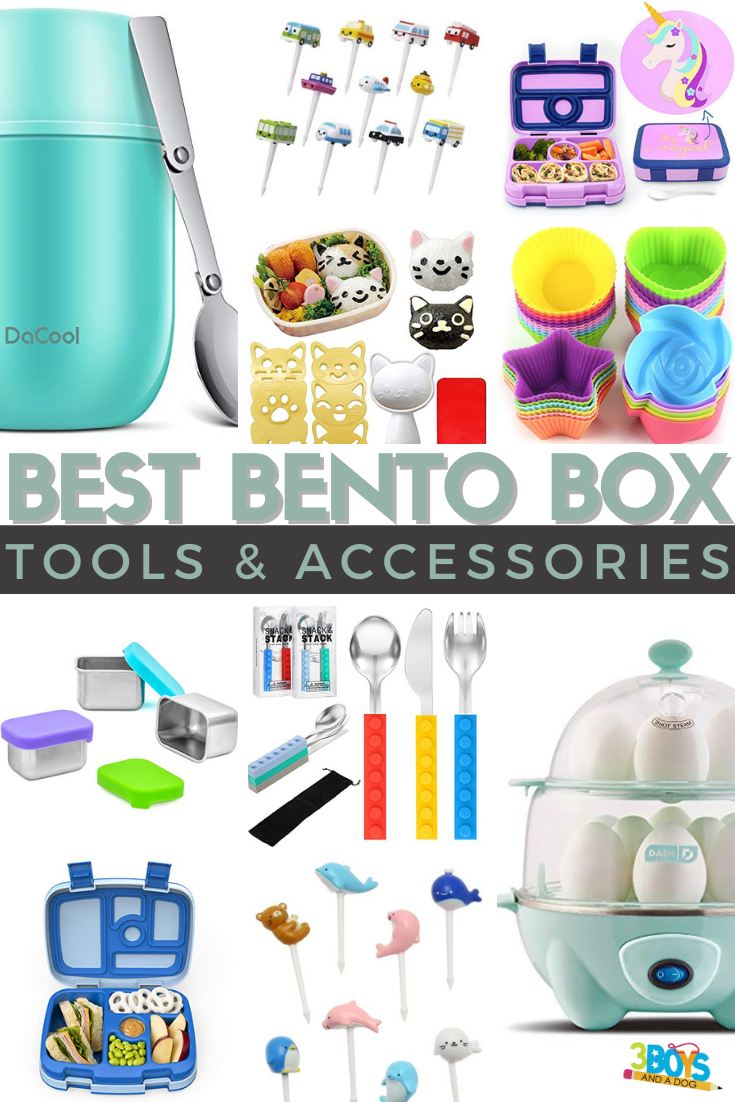 collage image of all the bento box accessories mentioned in this blog post
