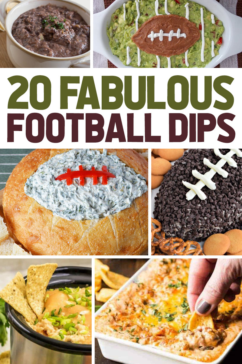 collage image showing 6 of the 20 Delicious Dips for Football Season