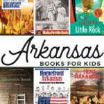 collage images of 6 book covers from this list of Arkansas Books for Kids