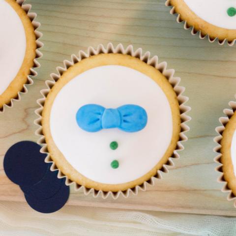 Baby Boy Bow Tie Cupcakes