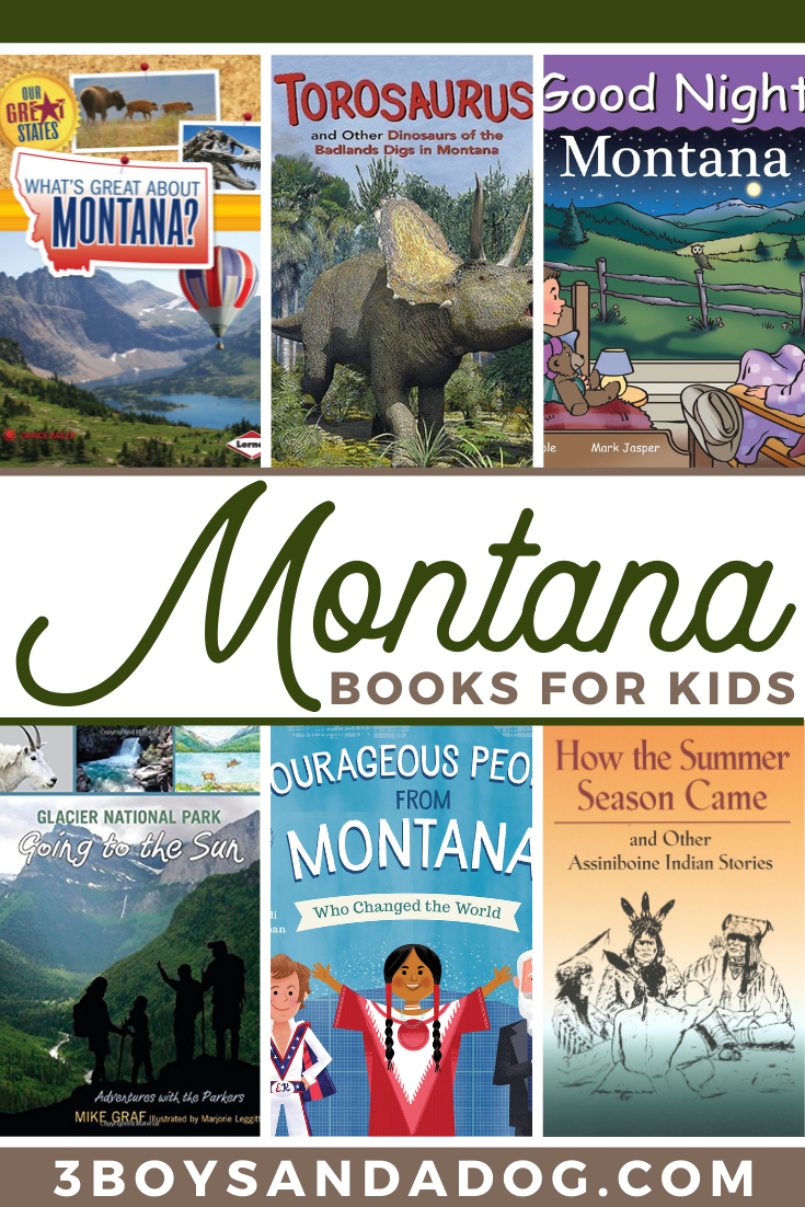 collage of the cover images of 6 Montana Books for Kids