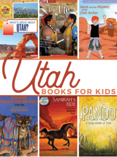 collage of 6 bookcovers from this list of 26 Utah Books for Kids