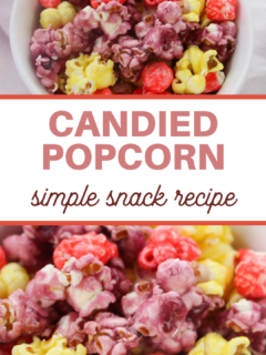 bright pink, purple, yellow candy coated popcorn picture with title bar